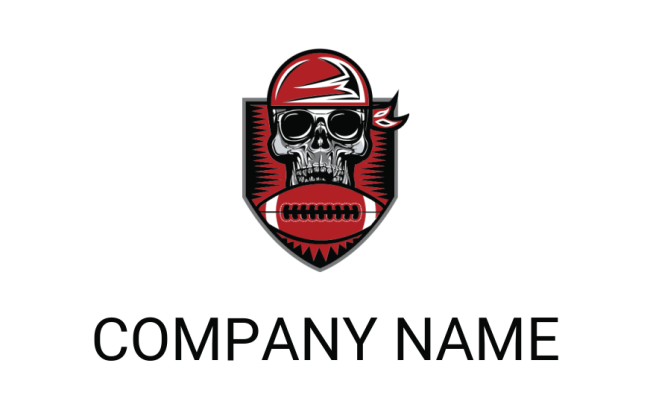 skull wearing bandanna with football | Logo Template by