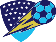 soccer moving up in front of a shield with stars