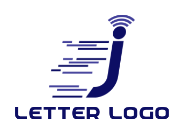 speedy letter j moving fast with WiFi signals