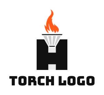 torch and flames merged with letter