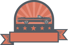vintage muscle car inside the emblem with stars and sun rays