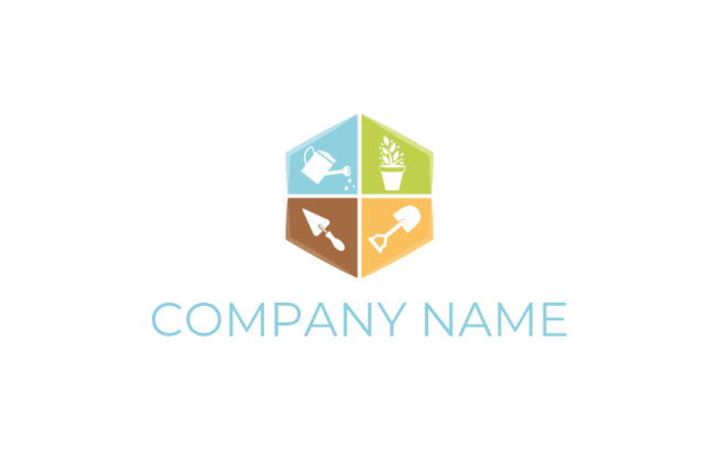 watering can shovel plant and spade inside hexagon | Logo Template