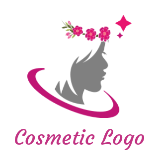 woman face silhouette with flower crown and swoosh