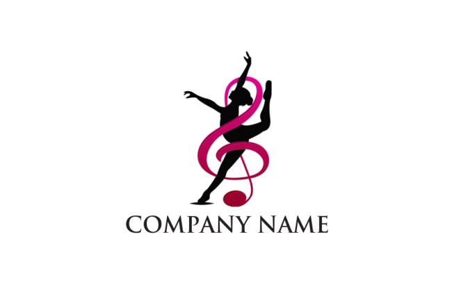 Women Ribbon Dancing And Music Note In Abstract Look Logo