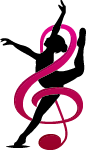 women ribbon dancing and music note in abstract look