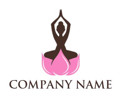 girl lying in yoga pose with lotus background  logo