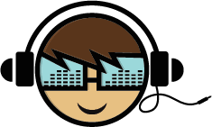 young boy wearing headphone with synthesizer glasses