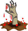 zombie hand with blood coming out from grave