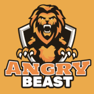 angry lion in center of shield mascot