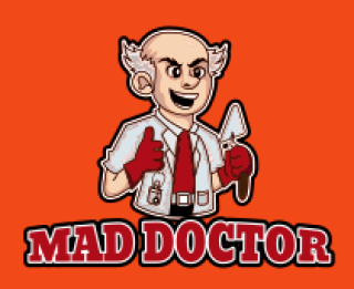 bald mad doctor with construction tools