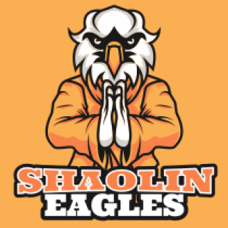 Eagle in martial art clothing mascot