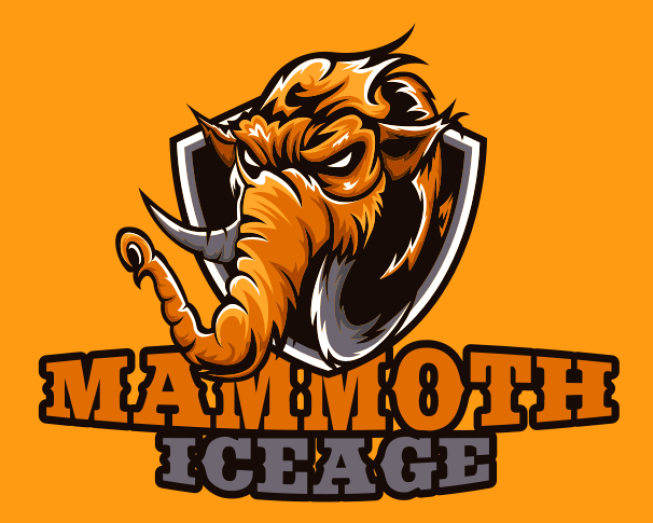 furious mammoth in center of a shield mascot