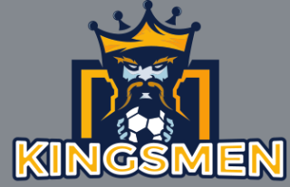 king mascot wearing crown holding soccer ball