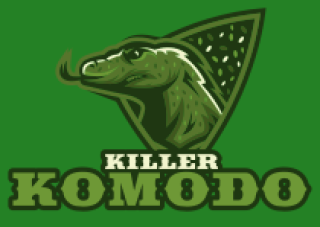 komodo dragon grinding teeth with small scales inside an abstract shape mascot