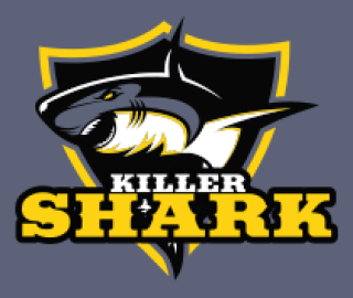 shark in center of the shield mascot